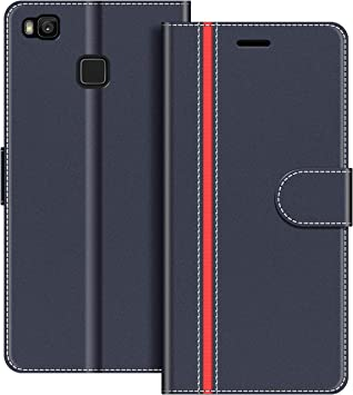COODIO Funda Huawei P9 Lite con Tapa, Funda Movil Huawei P9 Lite, Funda Libro Huawei P9 Lite Carcasa Magnético Funda para Huawei P9 Lite, Azul Oscuro/Rojo: Amazon.es: Electrónica
