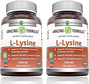 Amazing Formulas L-Lysine 1000mg Amino Acid Vitamin Tablets - Commonly Used for Cold Sores, Shingles, Immune Support, Respiratory Health & More (180 Count (Pack of 2))