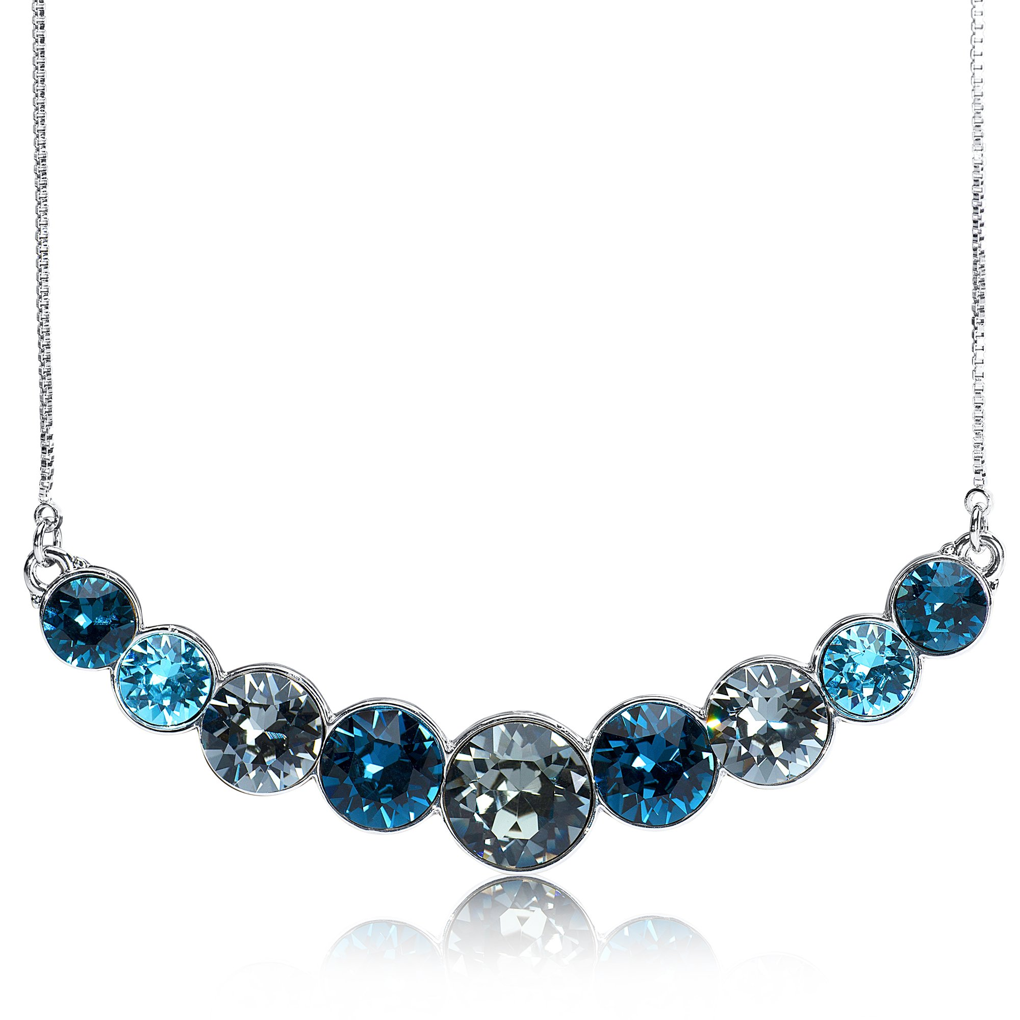 UPSERA Necklace for Women Curved Bar Pendant Made with Swarovski Crystals with Gift Pouch