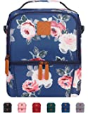 Elvira Insulated Dual Compartment Lunch Bag for Women Men, Large Leakproof Cooler Tote Bag with Removable Shoulder Strap for Work School Picnic Beach-Blue Flower