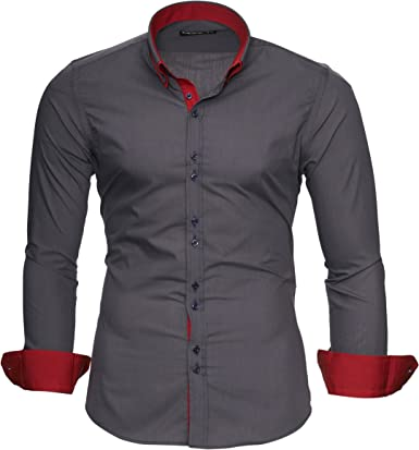 MERISH Camisas de Vestir para Hombre Manga Larga Slim Fit Camisa Button-Down clásico con Contrastes de Color, Modell 206 Gris Oscuro S: Amazon.es: Ropa y accesorios