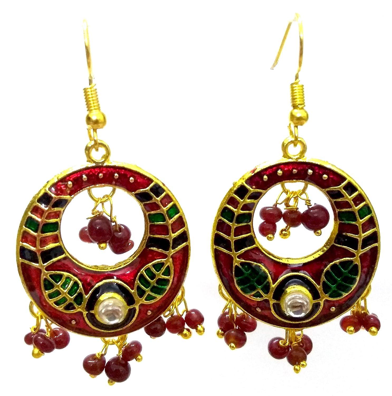 DESI HAWKER Meenakari Minakari Enamel Paint Golden Handmade Earring Bali Jhumki Jhumka Jewelry Ethnic Drop Dangle Hoop Afghani Chandbali NI-328
