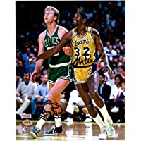 "Larry Bird Boston Celtics & Magic Johnson Los Angeles Lakers Autographed 8"" x 10"" In The Post Photograph - Fanatics Authentic Certified photo"
