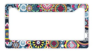 Amazoncom Thiswear Mandala License Plate Frame Multicolored