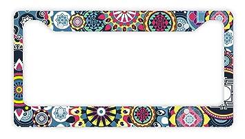 Amazoncom Thiswear Mandala License Plate Frame Multicolored
