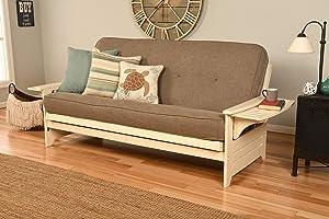 Kodiak Furniture Phoenix Futon Set with Antique White Finish, No Drawers, Linen Stone Mattress