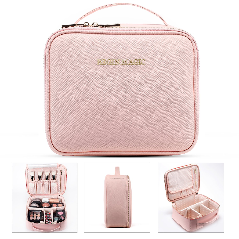 BEGIN MAGIC Mini Makeup Train Case/Portable makeup bag/Small Cosmetic Organizer Case PINK