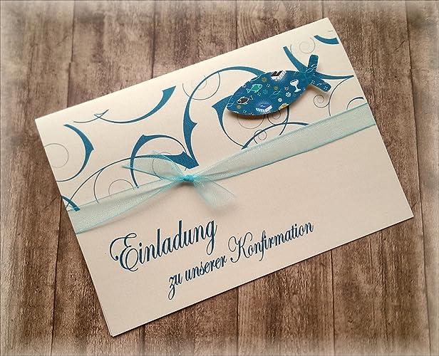 Großartig Einladung Einladungskarte Kommunion Konfirmation Firmung Taufe Fisch  Christliche Symbole Petrol Dunkel Türkis