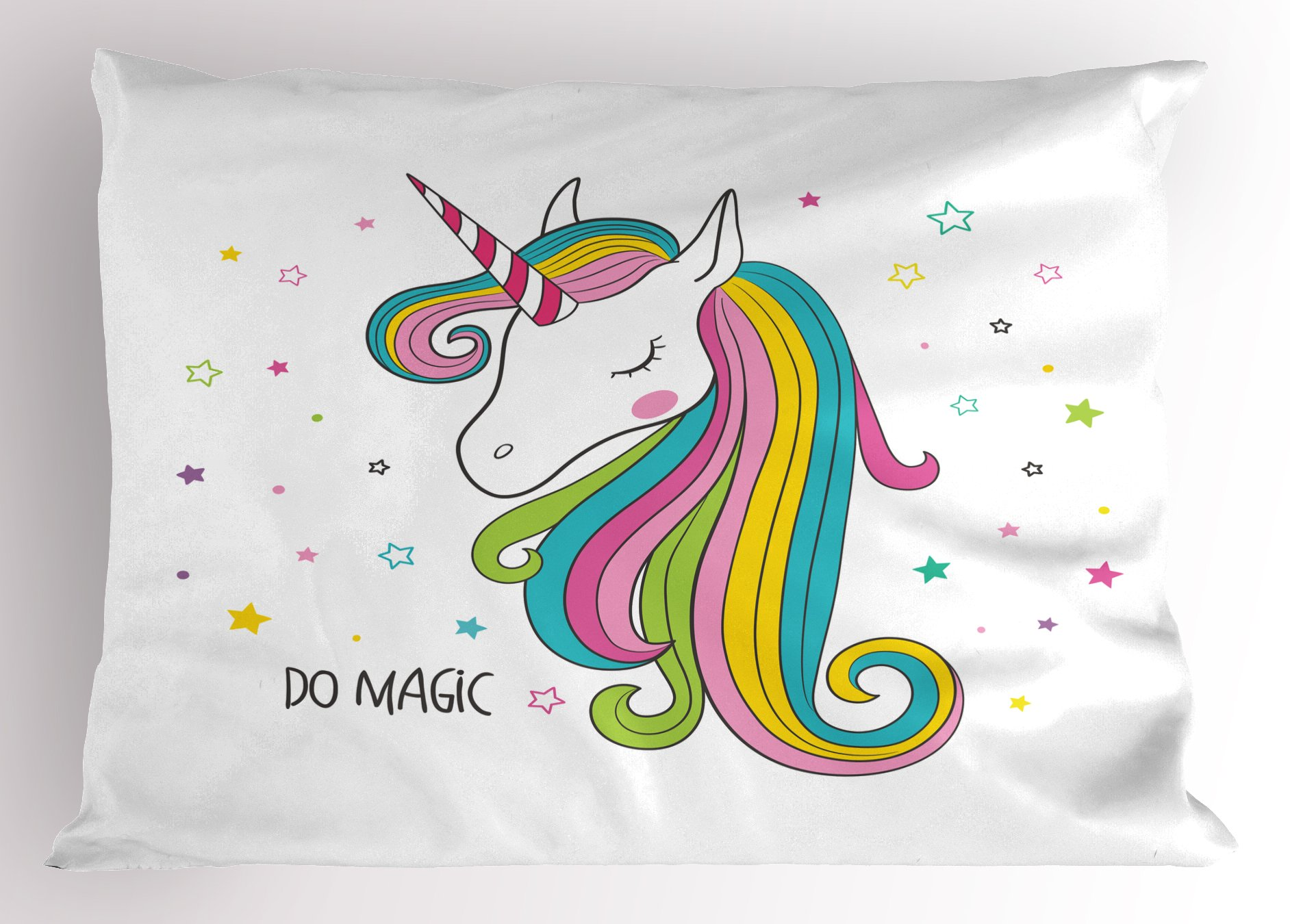 Lunarable Unicorn Pillow Sham, Colorful Animal with Horn Magical Character Rainbow Mane on Star Filled Background, Decorative Standard Size Printed Pillowcase, 26 X 20 inches, Multicolor