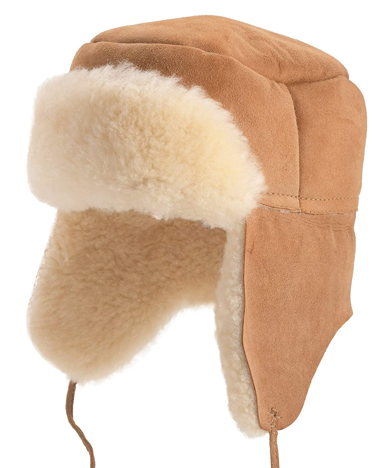 bdefca66661 Lambland Mens Ladies Double Faced Genuine Sheepskin Trapper Hat