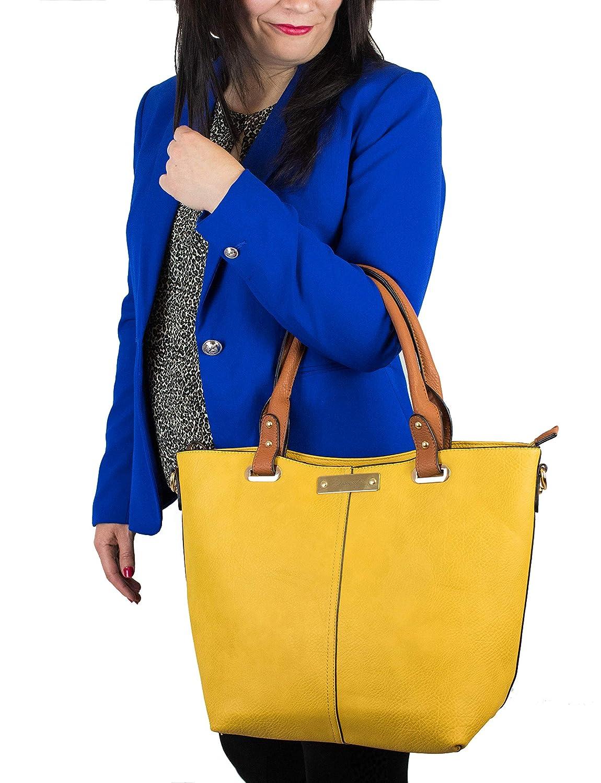 Dinamyta Bolsos de Mujer Bolsos color Camel Bolso Shopper Mujer Bolso Piel Mujer Bolsos de Hombro Bolso Tendencia Mujer