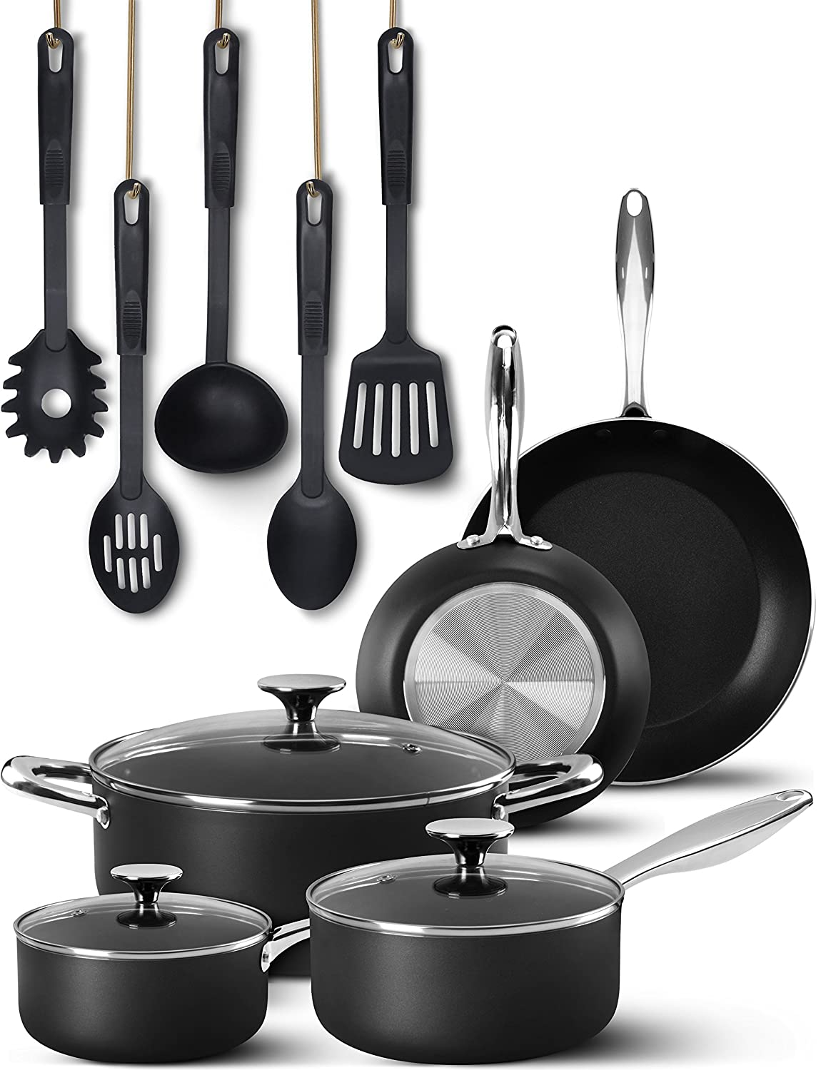 13 Pieces Cookware Set - Stainless Steel Handle - Black, Highly Durable, Even Heat Distribution, Double Nonstick Coating