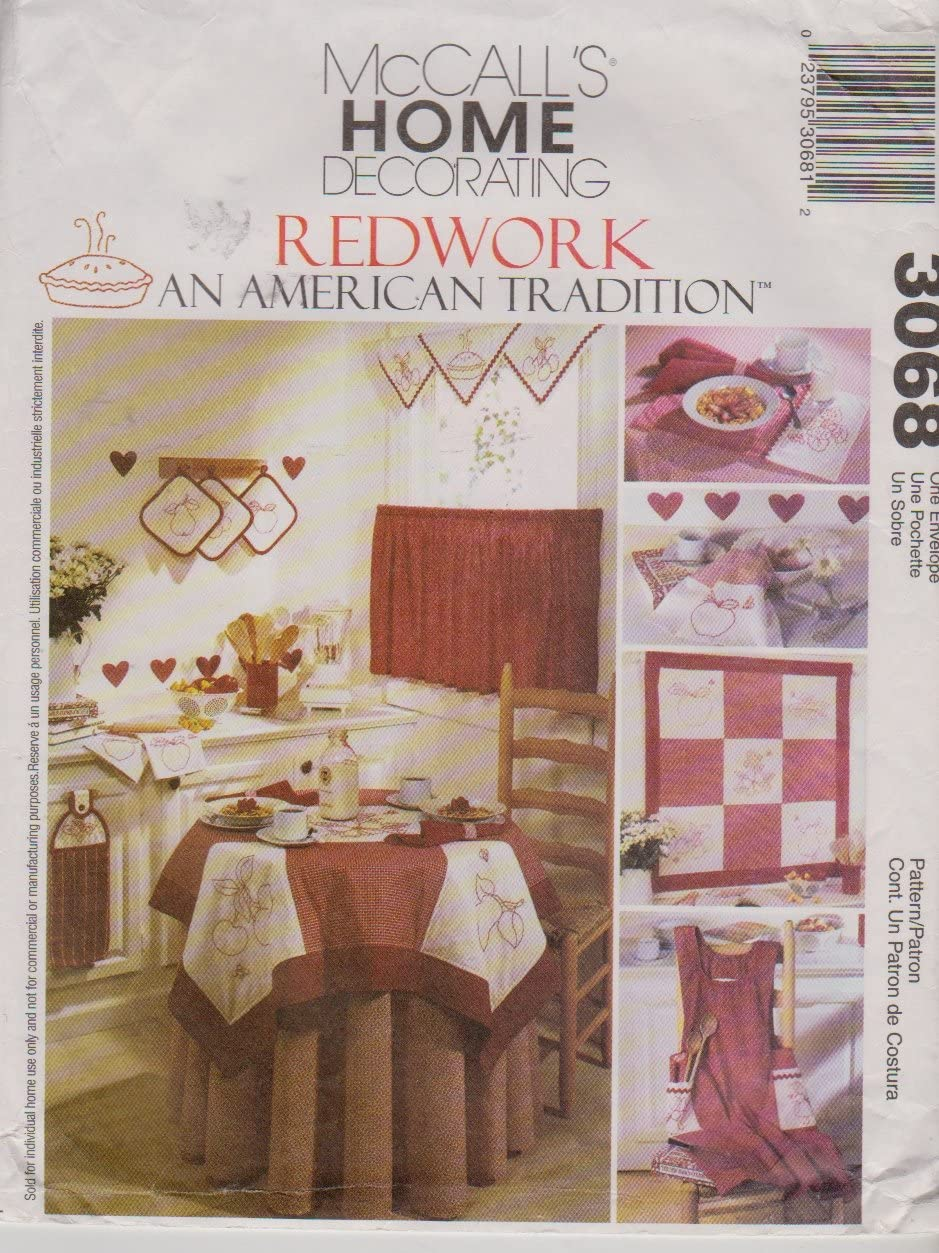 Kitchen Accessories Redwork - an American Tradition McCalls Home Decorating pattern 3068