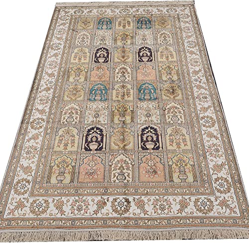 Yilong Carpet 5 x 8 Silk Carpet Classic Oriental Qum Persian Garden Pattern Traditional Handmade Rug Y314AB5x8