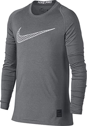 4767b8e11 Nike Boy's Pro Fitted Long Sleeve Shirt (Carbon Heather/White, X-Small