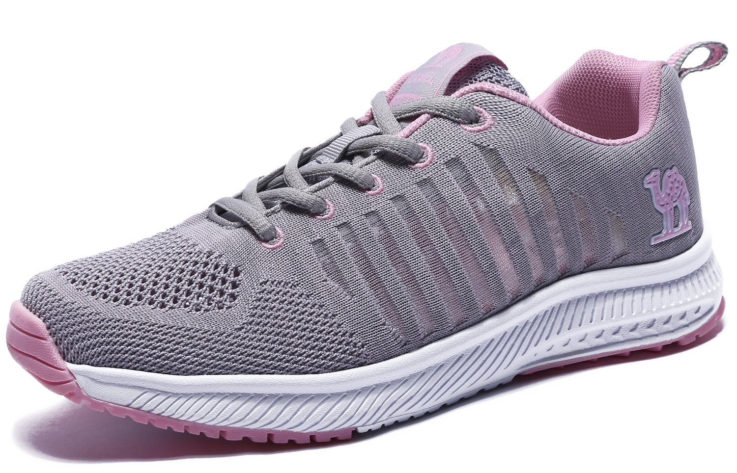 Camel Womens Running Shoes Breathable Athletic Mesh Non-Slip Fashion Lightweight Walking Shoes Sports Sneakers, Gray, 8 B(M) US