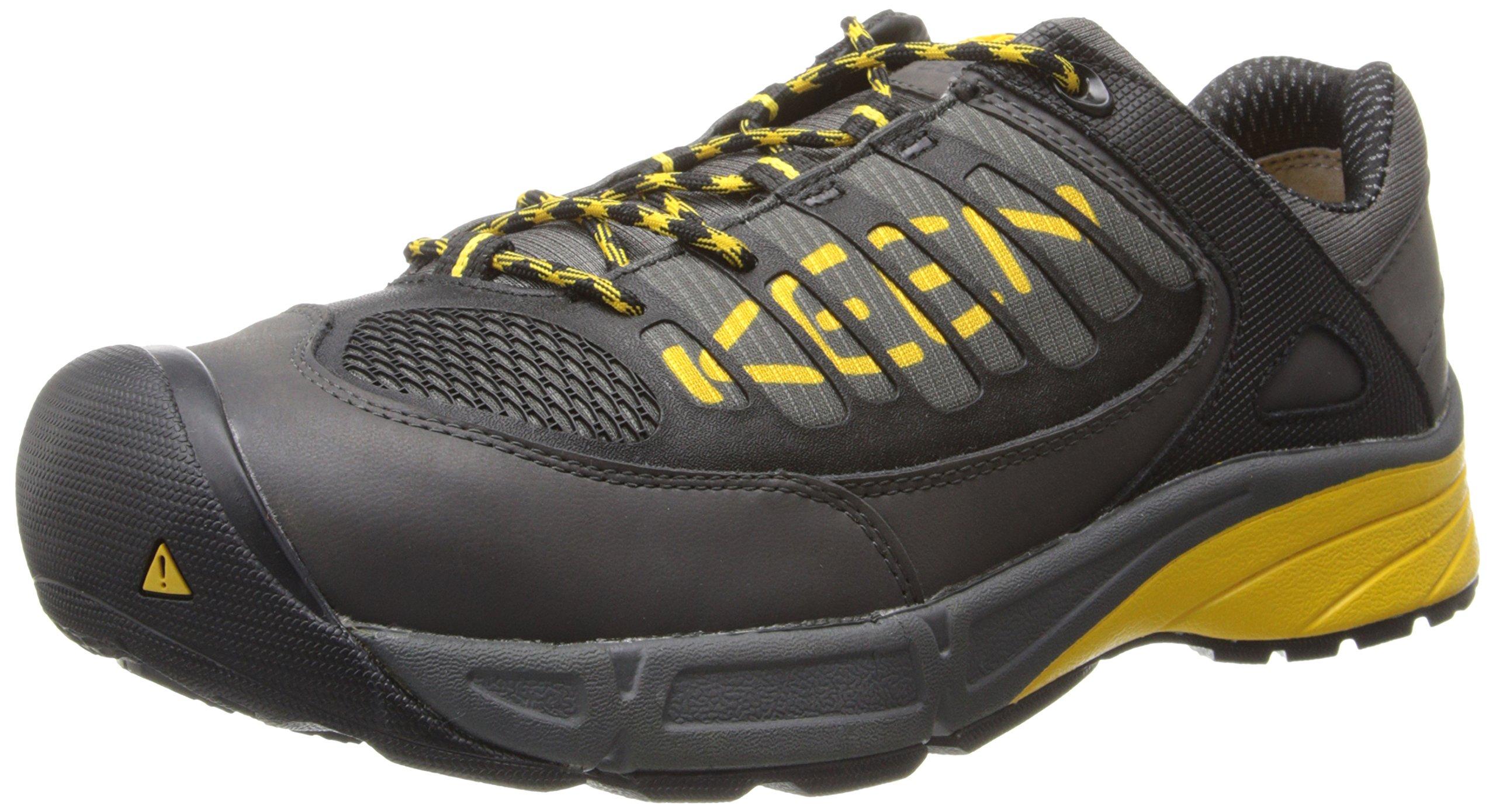 KEEN Utility Men's Aurora Low ESD Shoe,Gargoyle/Yellow,14 D US