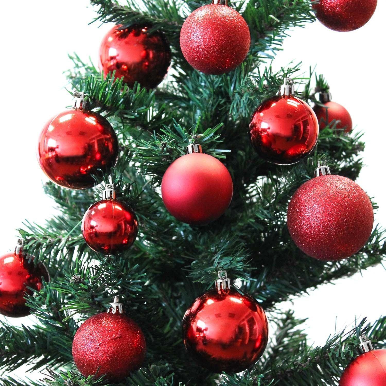 Set di 70 palle di Natale Ø4/5/6cm plastica rosso ornamento per l'albero di Natale decorazione di Natale decorazione per l'abete Multistore 2002