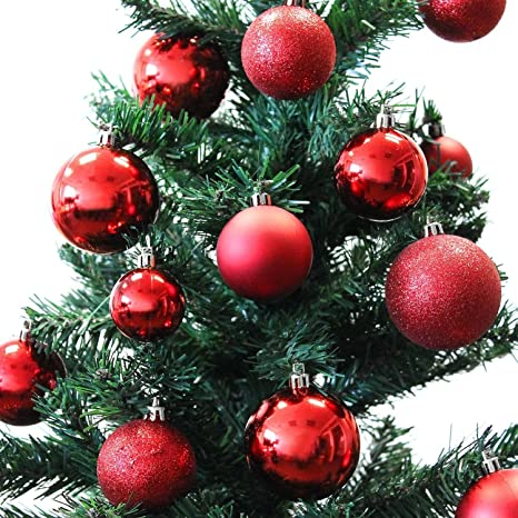 Palle Di Natale.Set Di 70 Palle Di Natale O4 5 6cm Plastica Rosso Ornamento Per L Albero Di Natale Decorazione Di Natale Decorazione Per L Abete