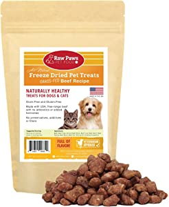 Raw Paws Free-Range Beef Freeze Dried Dog Treats & Cat Treats - Made in USA Raw Freeze Dried Dog Treats - Grass-Fed Cows - Grain, Wheat, Antibiotic-Free Beef Cat Treats - All Natural Pet Snacks