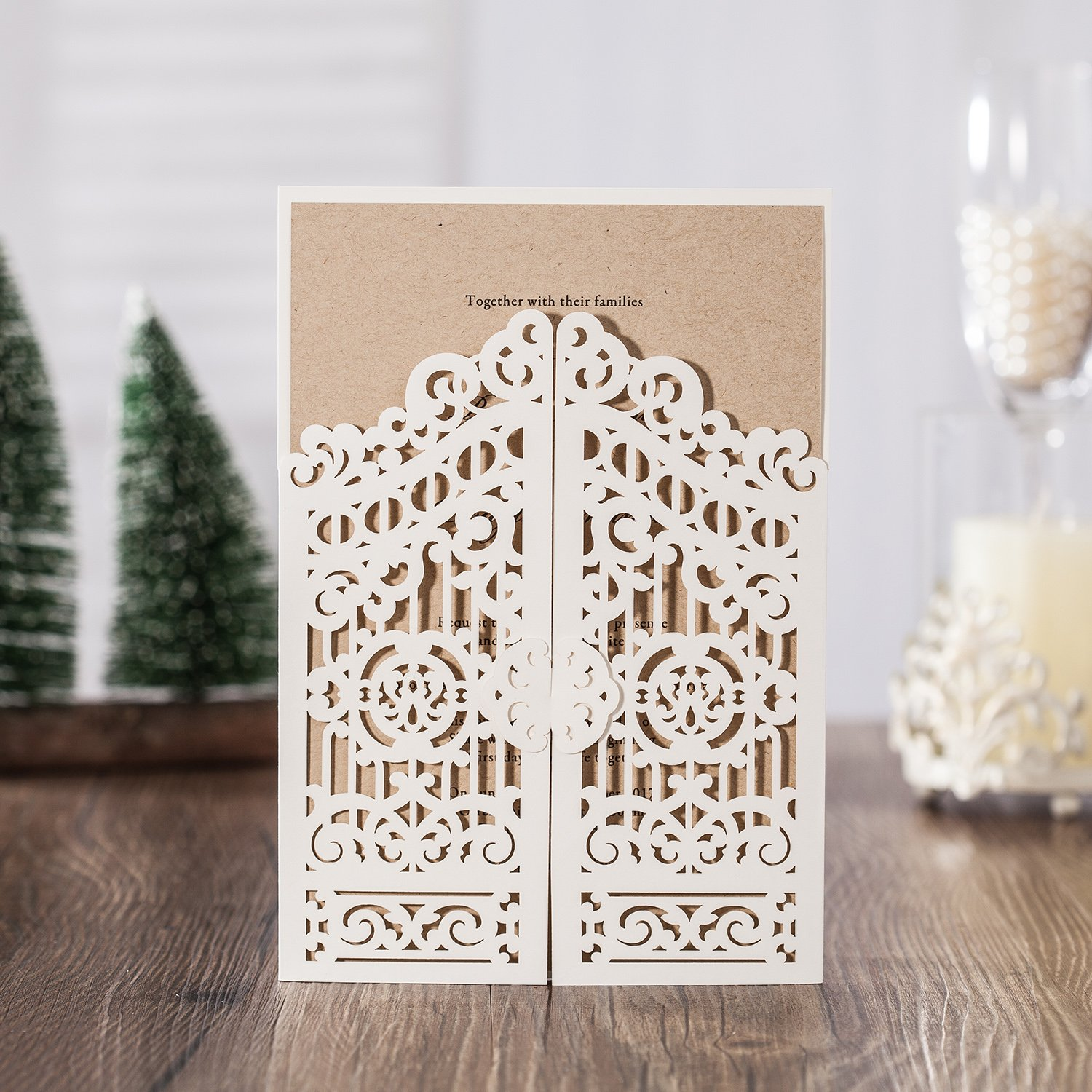 Wishmade Wedding Invitation Cards 20 Sets White Gate Wedding Invitation Laser Cut Greeting Card with one Page Inner Sheet,Envelope