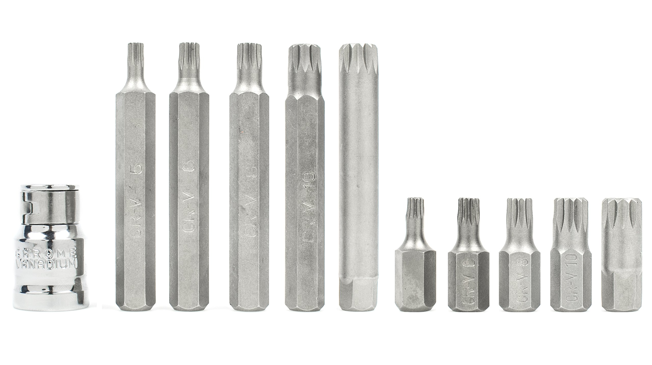 Bastex 11 piece Triple Square Socket Spline Bit 12 Point Set, CrV Steel by Bastex (Image #4)