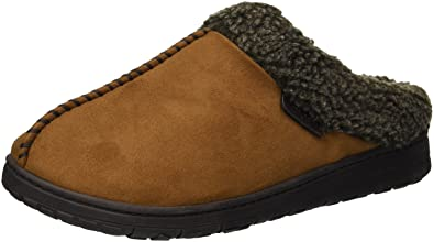95b89db512d Dearfoams Men s Microsuede Clog with Whipstitch Slipper