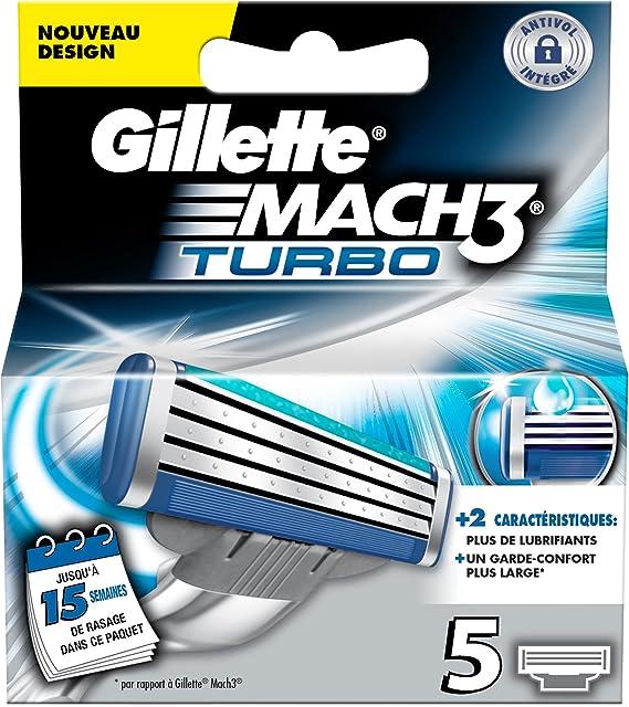 Gillette Mach 3 Turbo - Recambios para cuchillas de afeitar (5 ...