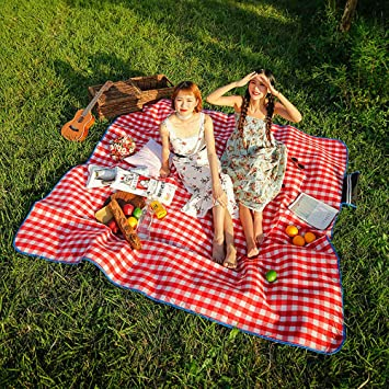 SKYSPER Manta de Picnic 200 x 200cm Alfombra Alfombrilla Colchón Impermeable Plegable Estera Franela para Acampar Camping para Playa Jardín Senderismo ...
