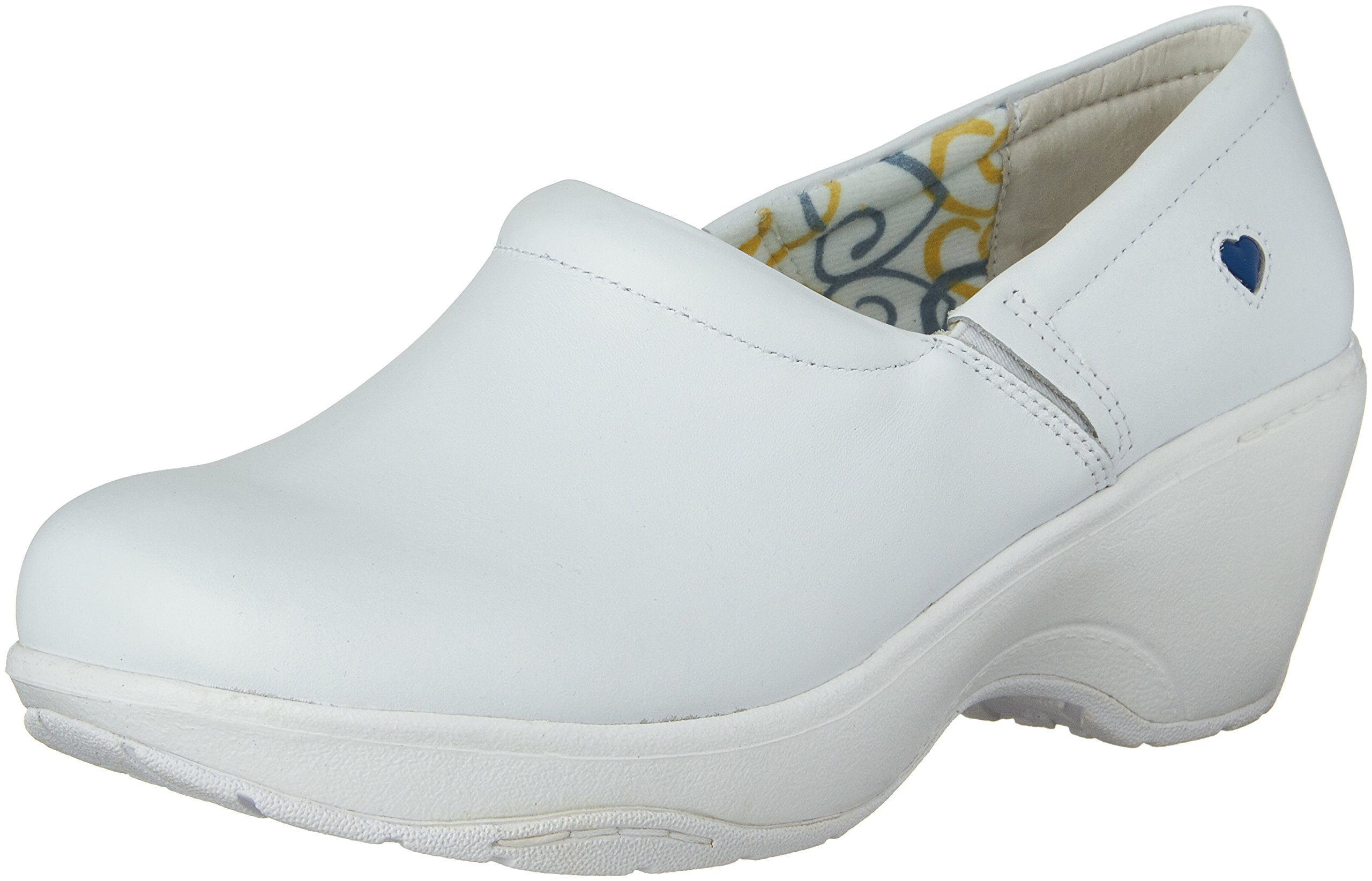Nurse Mates Women's Bryar Slip-On Clog Shoes, White Leather, 9.5 M/B