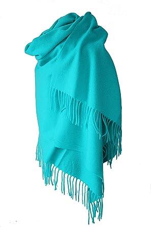 Rose Poudré Echarpe étole chale en laine et cachemire grande épaisse et  chaude (BLEU TURQUOISE afc45433fec