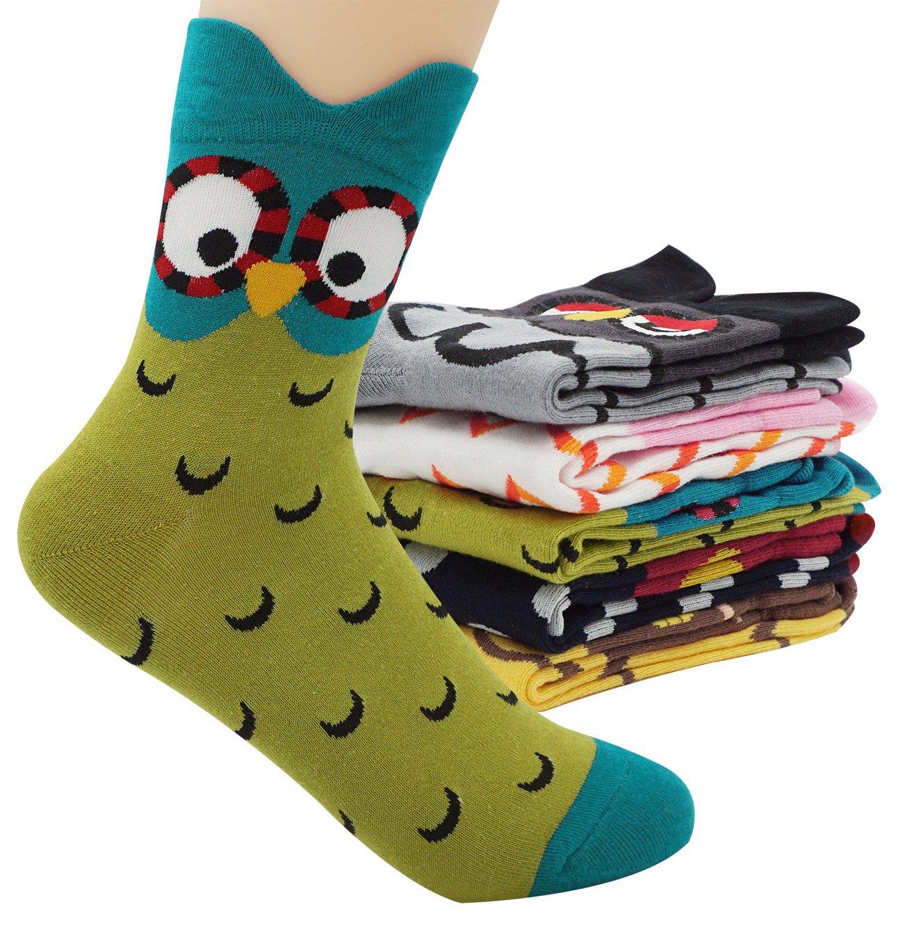 Women's Lady's Cute Owl Design Cotton Socks,5 Pairs Multi Color One Size by Bienvenu (Image #6)