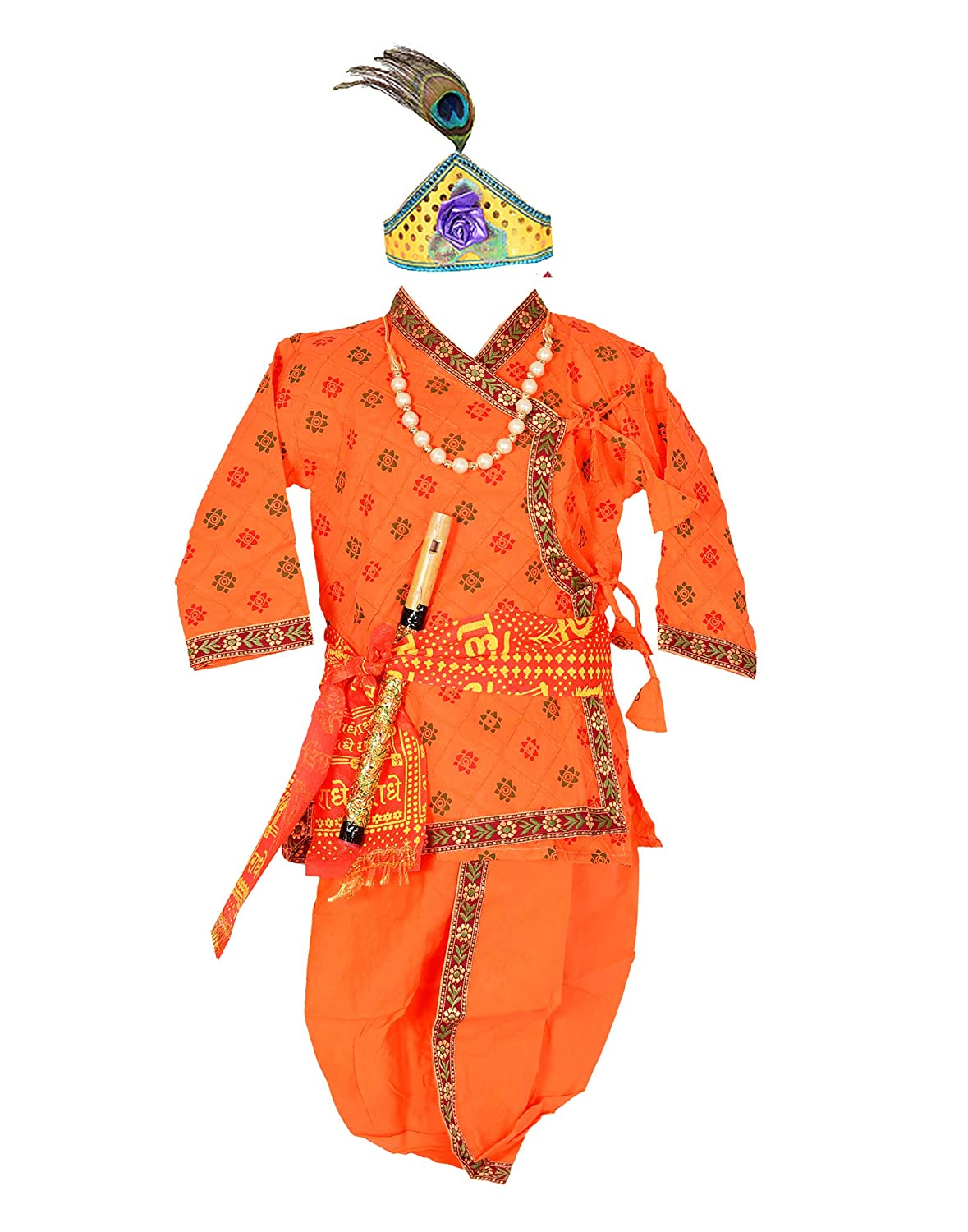AHHAAAA Cotton Pintex Print Krishna Dress Kurta with Dhoti Pant for Boys