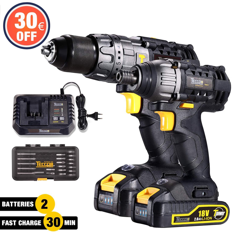 Trapano Avvitatore Batteria, TECCPO Professional 18V Avvitatore a Batteria 60Nm, 180Nm Avvitatore Elettrico, 2 Batterie 2.0Ah, 30min Caricatore Rapido, 29pcs - TDCK01P(-15€ Code: O7NLWJGM) product image