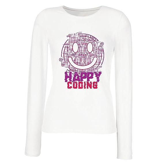 Camiseta de Manga Larga para Hombre Codificación Feliz - Sonrisa, Emoji Divertido Regalo Perfecto para Jugador o Soporte…