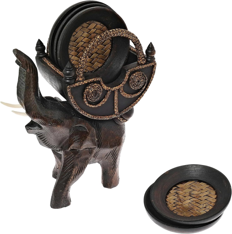 Amazon Com Aeravida Elephant Carriage Coaster Set With Holder Carved Rain Tree Wood Home Kitchen