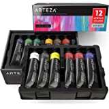 Arteza Acrylic Paint Set Expert, 12 Colors/Tubes (75ml/2.53 oz.) Heavy Body, Smooth & Thick, Rich Pigments, Non Fading for Professional Artists