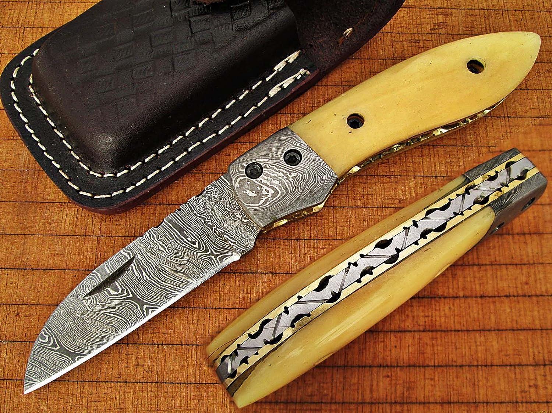 Custom Made Damaskus 15,7cm zusammenklappbar Taschenmesser mit Camel Knochen Griff, die Solide Damaskus Nackenrolle und feine Art File, Klinge unter 7,6cm (bdm-686)