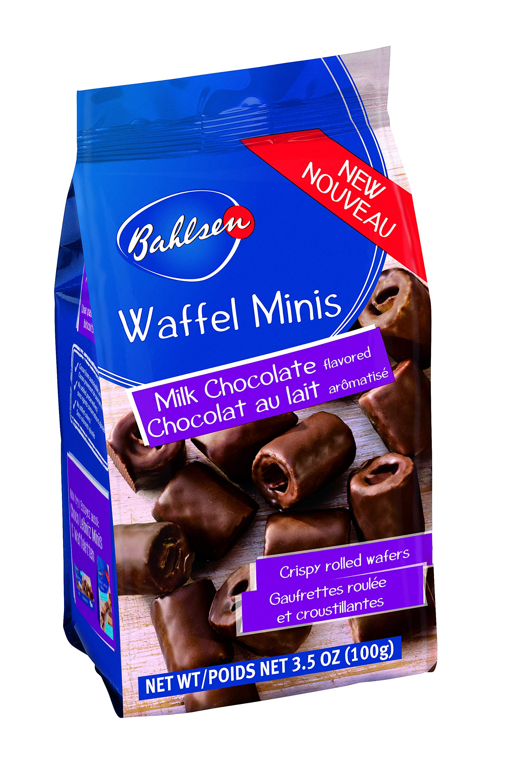 Bahlsen Waffeletten Milk Minis (1 bag) - Delicate Wafer Rolls dipped in European Chocolate - 3.5 oz bags by Bahlsen