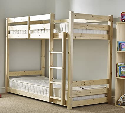 59059c35c491 Strictly Beds Pluto SHORT Bunk Bed Shorty Bunk Bed with 2x Mattresses- 2ft  6 x 5ft 9 single solid pine bunk bed - Heavy Duty: Amazon.co.uk: Kitchen &  Home