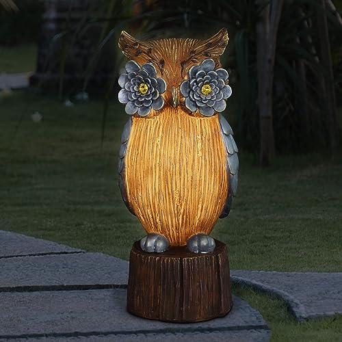 Exhart Solar Woodsy Owl Garden Statue w/Silver Flower Eyes Owl Statue w/Solar Powered LED Lights