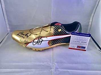 cbefa954e7b3fa Image Unavailable. Image not available for. Color  Usain Bolt Signed  Official Puma Gold Cleat Shoe Fastest Man Cert - PSA DNA Certified
