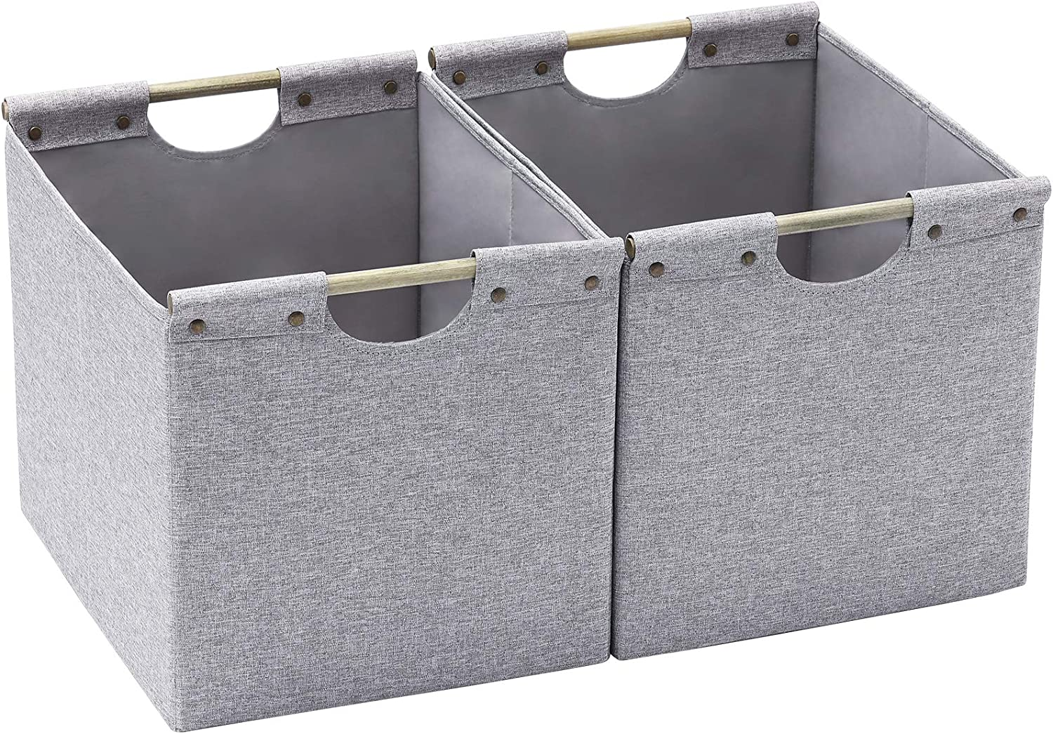 HOONEX Large Foldable Cube Storage Bins, Linen Fabric, 2 Pack, with Wooden Carry Handles and Sturdy Heavy Cardboard, for Home, Office, Car, Nursery, Grey