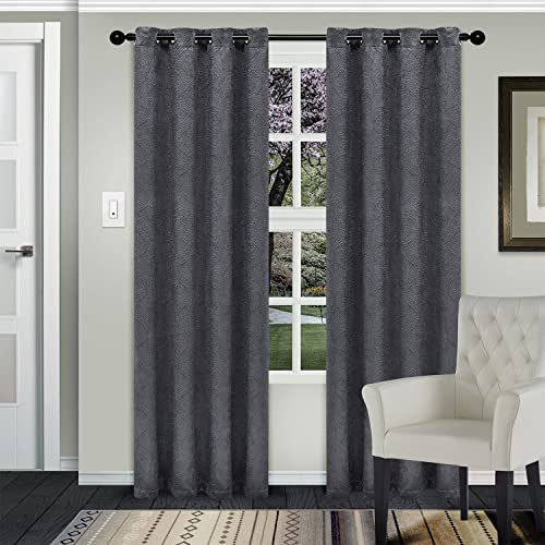 SUPERIOR Waverly Modern Geometric Set of 2 Blackout Energy Efficient Thermal Grommet Curtain Panels