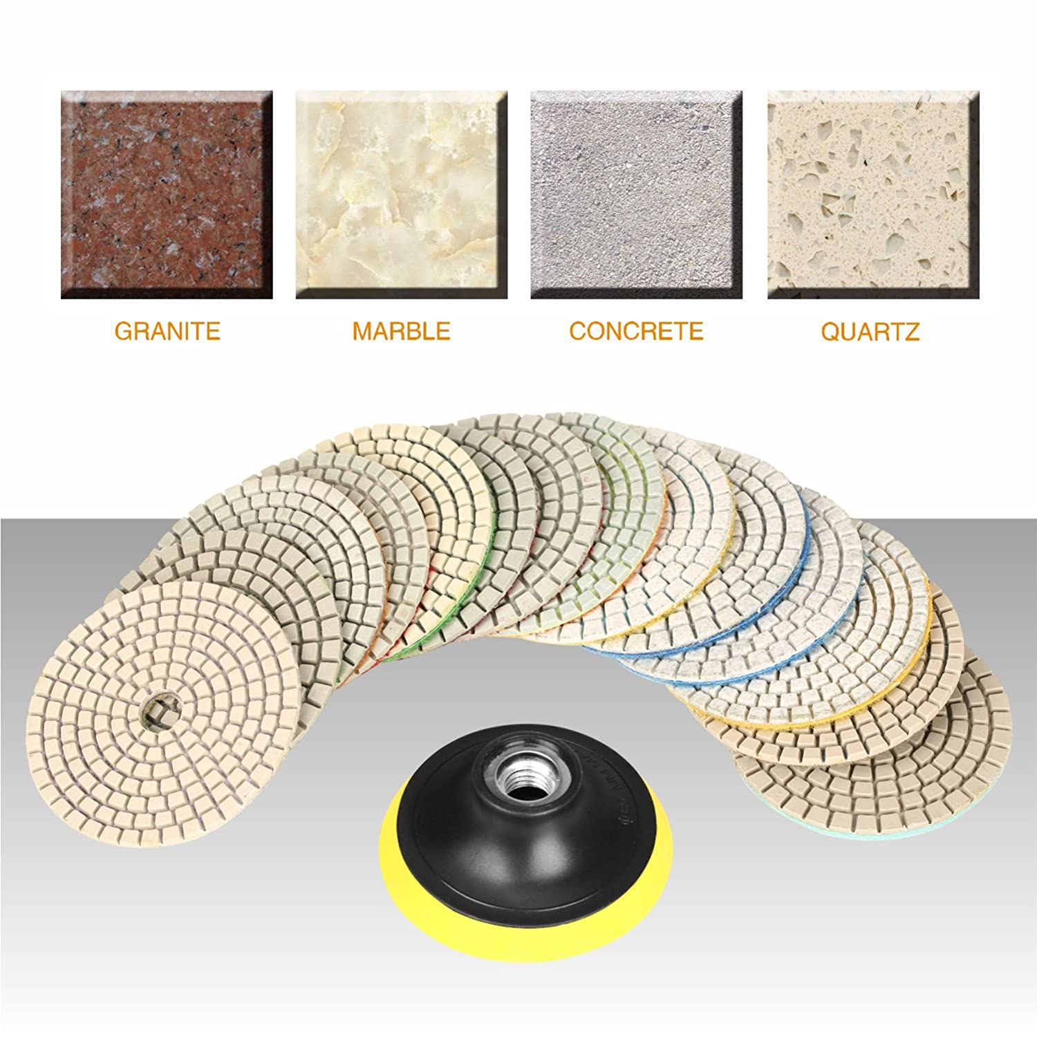 50#-6000# with Hook /& Loop Backing Holder Pads for Wet Polisher SPTA 15pcs Diamond Wet Polishing Pads Set 4 inch Pads for Granite Stone Concrete Marble Floor Grinder or Polisher