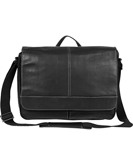 2c51905f0 Kenneth Cole Reaction Colombian Leather Slim Single Compartment Flapover  Business Messenger Bag, Black: Amazon.co.uk: Luggage