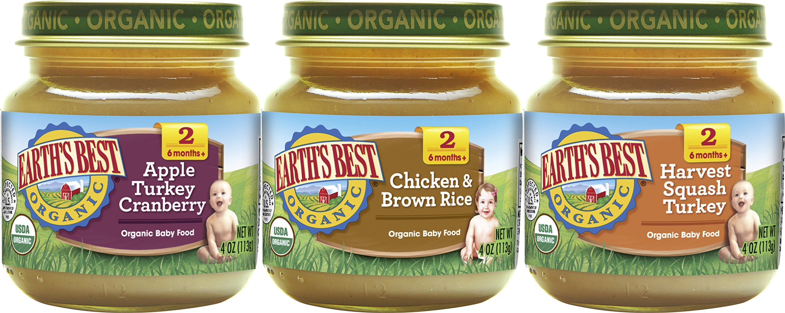 Earth's Best Organic Stage 2 Baby Food, Dinner Favorites Variety Pack (Apple Turkey & Cranberry, Chicken & Brown Rice, Harvest Squash & Turkey), 4 Ounce Jars, Pack of 12