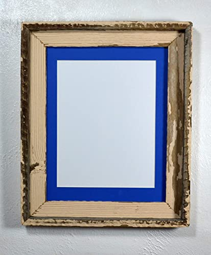 Amazoncom Shabby Chic Picture Frame 85x11 Blue Mat Reclaimed Wood