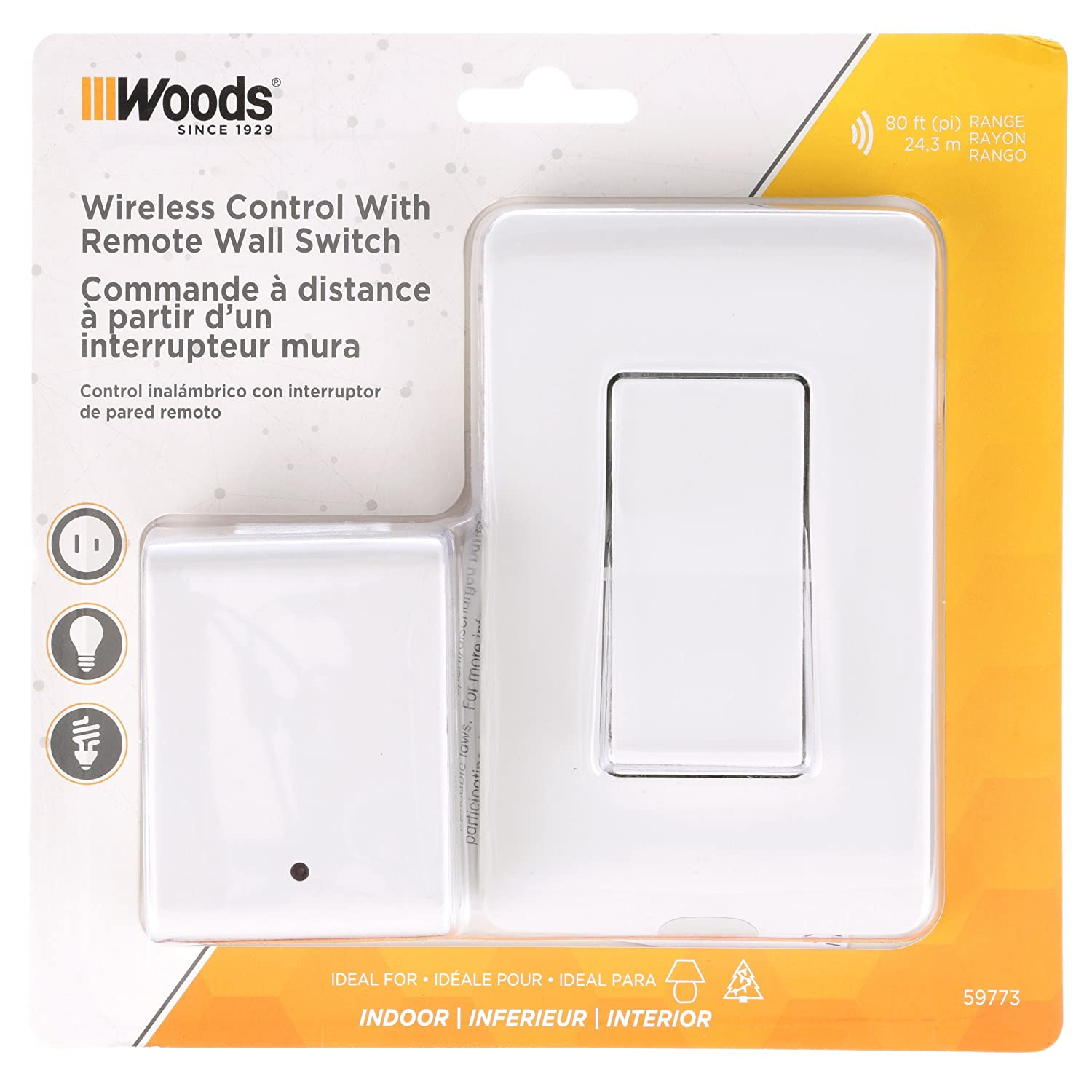 Woods Indoor Remote Control For Lights With Wall Switch 1 Polarized X10 Wiring Diagram Outlet