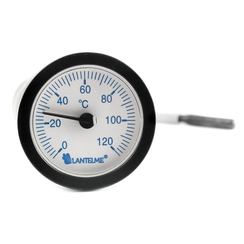 Lantelme 6750 Thermomètre à capillaire avec sonde d'une longueur de 1, 55 m pour chauffage – chaudière - eau froide – thermomètre analogique avec graduation bleue CH T6120B